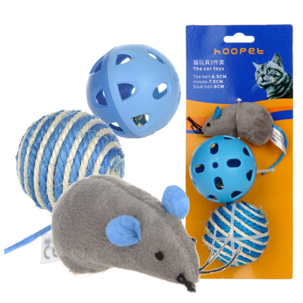 【寵愛有家】老鼠劍麻鈴鐺貓咪互動玩具3件組(寵物玩具)