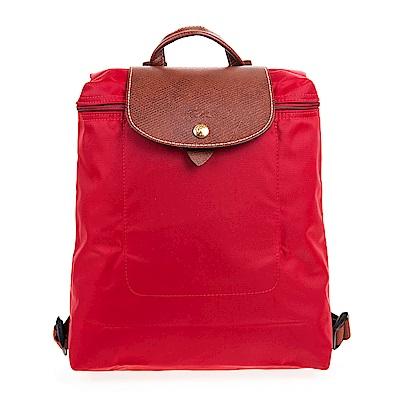 Longchamp Le Piage拉鍊尼龍後背包 (紅色)