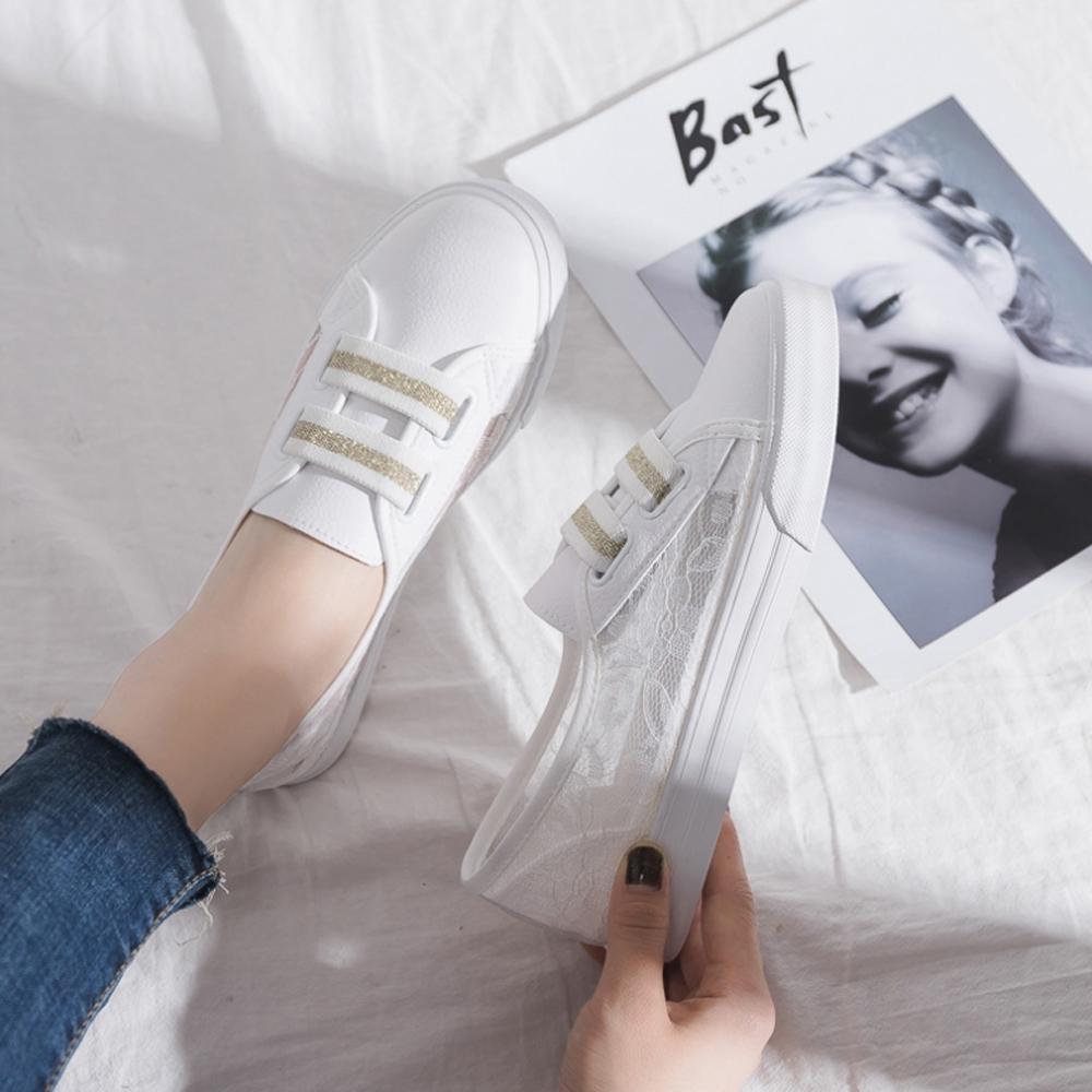 LN  現+預 仙女風蕾絲簍空小白鞋(休閒鞋/平板鞋) (白金色)