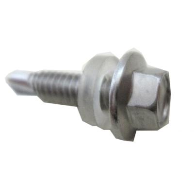 Q15 白鐵六角頭自攻牙螺絲/浪板螺絲 12#x1〞不鏽鋼#410(100支/包)