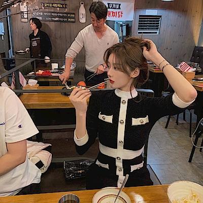 DABI 韓國輕熟小香風黑白拼色修身長袖洋裝
