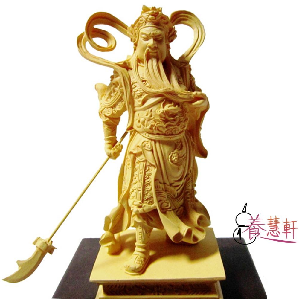 養慧軒 金剛砂陶土精雕佛像 迦藍關公(高12.5cm)(木色)