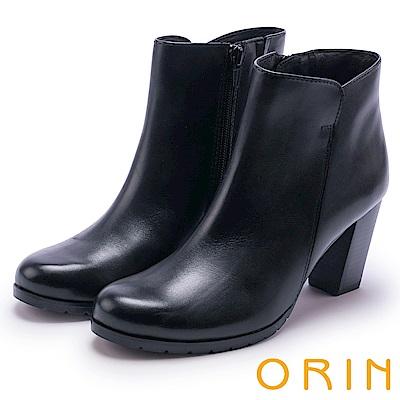 ORIN 經典復古 嚴選牛皮素面粗高跟短靴-黑色