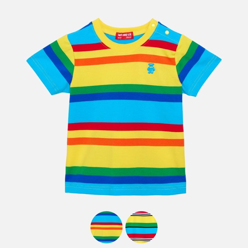 WHY AND 1/2 mini 條紋棉質萊卡T恤 多色可選 1Y ~ 4Y (藍色)