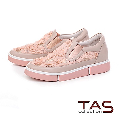 TAS 立體網花厚底休閒鞋-甜美粉