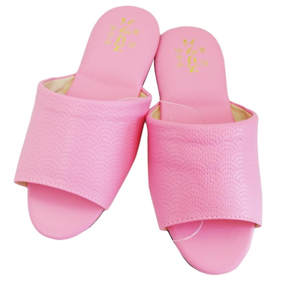 壓紋氣墊室內皮拖鞋6雙入- 粉紅/米色