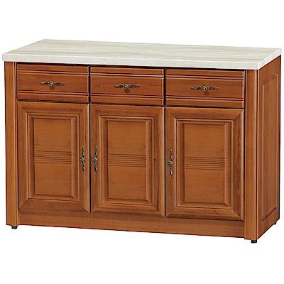 綠活居 伊森實木4尺雲紋石面餐櫃/收納櫃-120x45.5x82cm免組