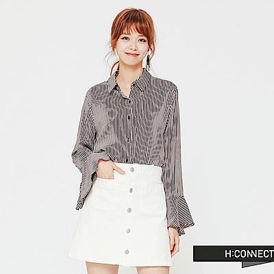 H:CONNECT 韓國品牌 女裝-袖口設計直條紋襯衫-藍