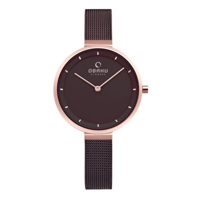 OBAKU 現代極簡經典女性腕錶-棕色X玫瑰金-V225LXVNMN
