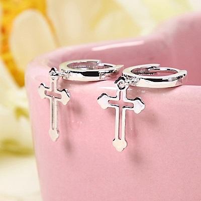 米蘭精品 925純銀耳環-十字架圓環耳環