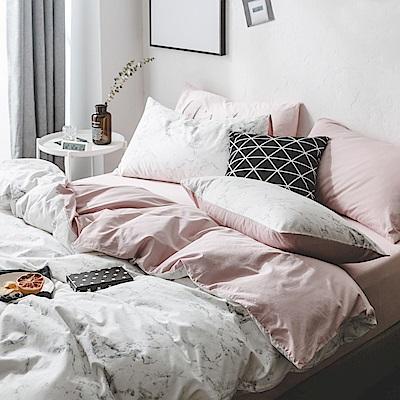 BUNNY LIFE 大理石粉-加大-北歐都會精梳純棉床包被套組