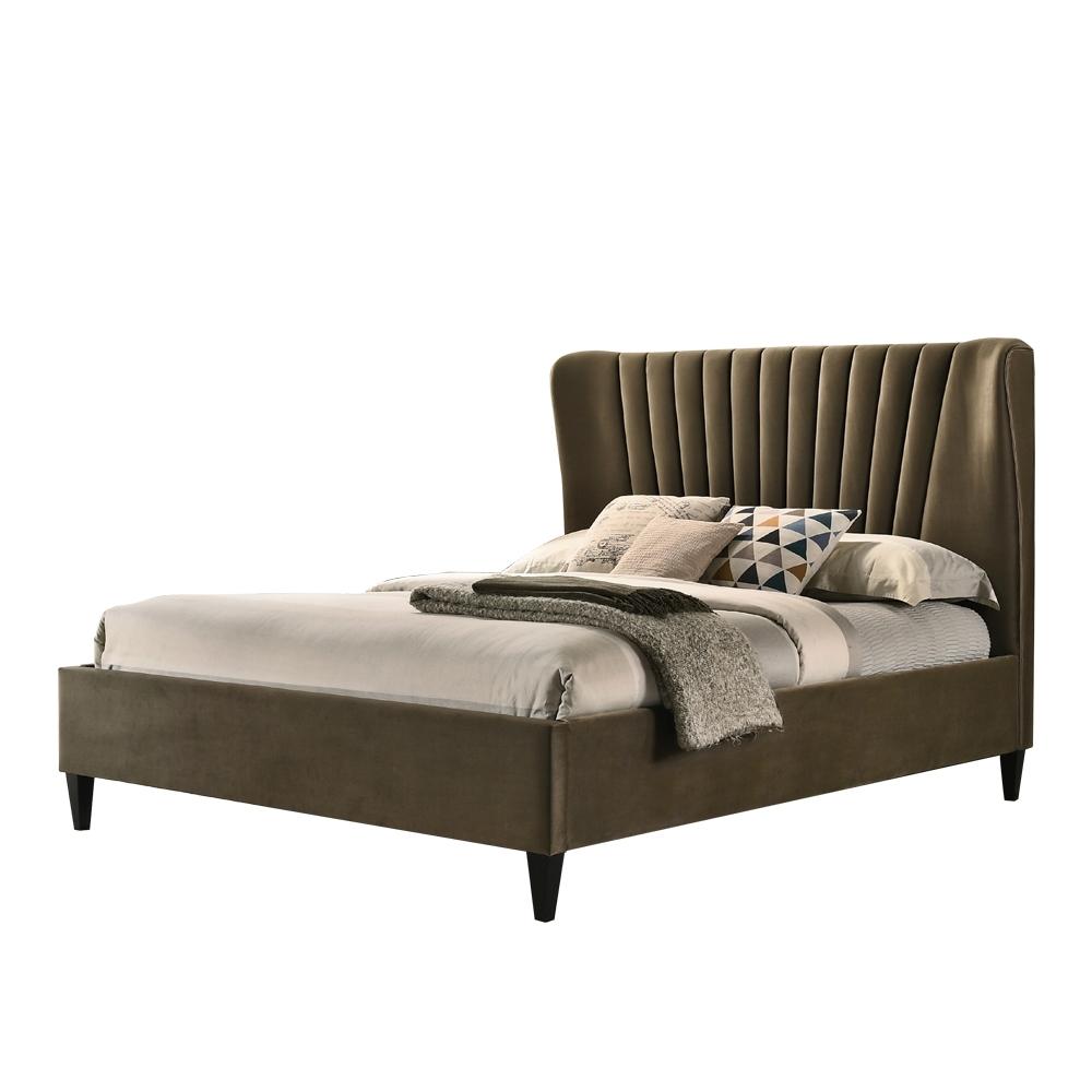 【AT HOME】現代簡約5尺棕布雙人床(不含床墊)-曼特寧