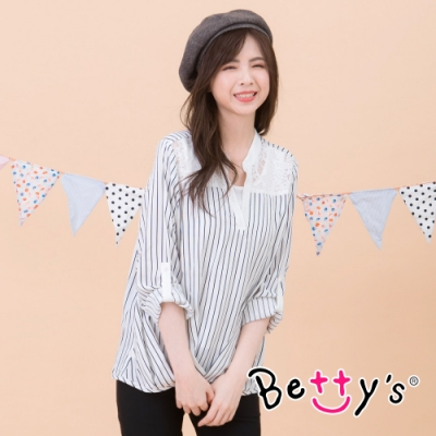 betty's貝蒂思 立領條紋蕾絲拼接上衣(白色)