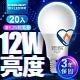 【滿$499抽小米電鍋】億光EVERLIGHT LED燈泡 12W亮度 超節能plus 僅9.2W用電量 白光/黃光 20入 product thumbnail 1