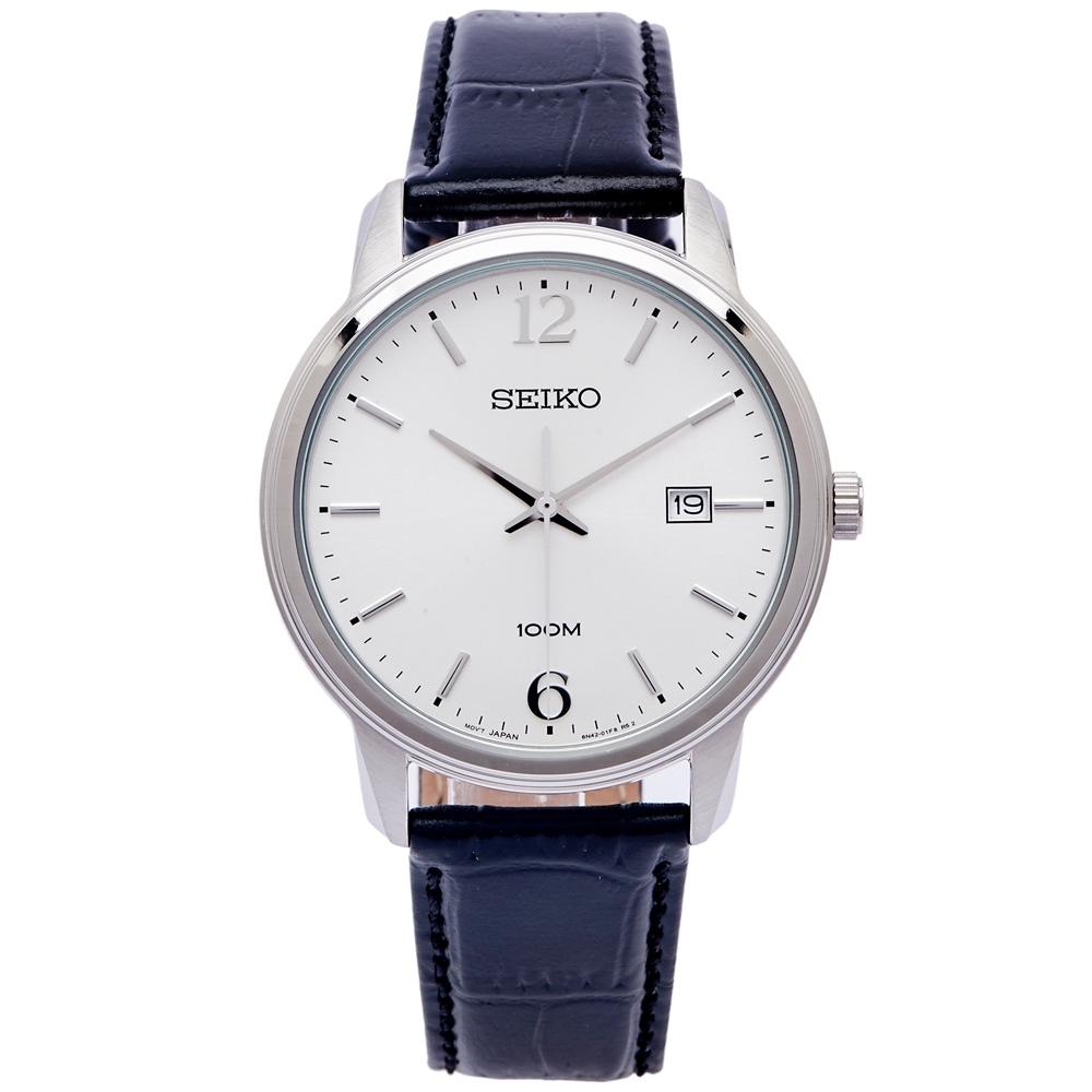 SEIKO 簡約魅力風的皮革手錶(SUR265P1)-銀面X黑色/40mm