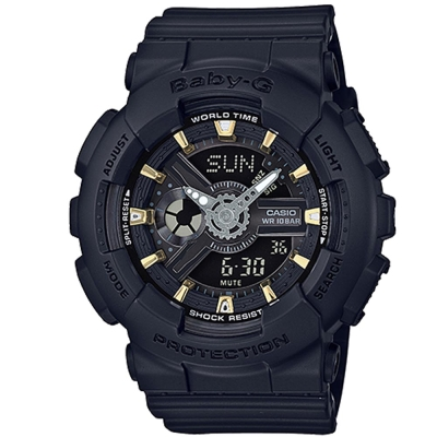 BABY-G 金時尚搖滾隨性風格概念休閒錶(BA- 110 GA- 1 A)金時刻X黑面 43 . 4 mm