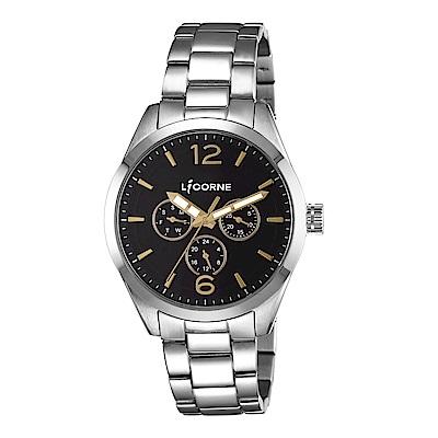 LICORNE 力抗錶 經典工藝三眼手錶-黑×銀/42mm