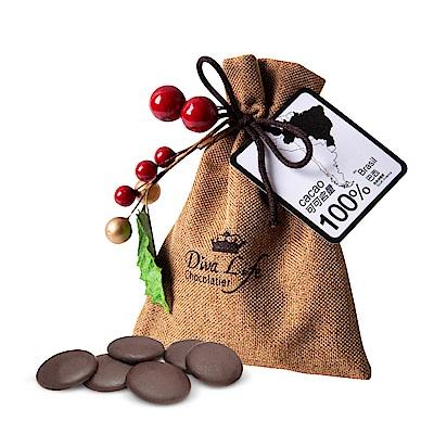 Diva Life 聖誕版麻布袋100%黑巧克力