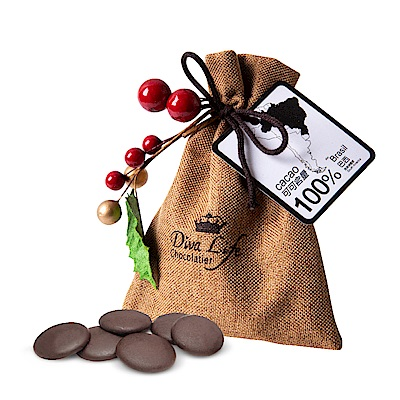 Diva Life 聖誕版麻布袋100%黑巧克力x6包