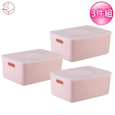 日本霜山 無印風手提式多功能收纳盒附蓋3入組-粉红M (36.5X26.5X16.5)