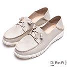 DIANA 漫步雲端厚切焦糖美人-細緻車線輕量真皮休閒鞋-米