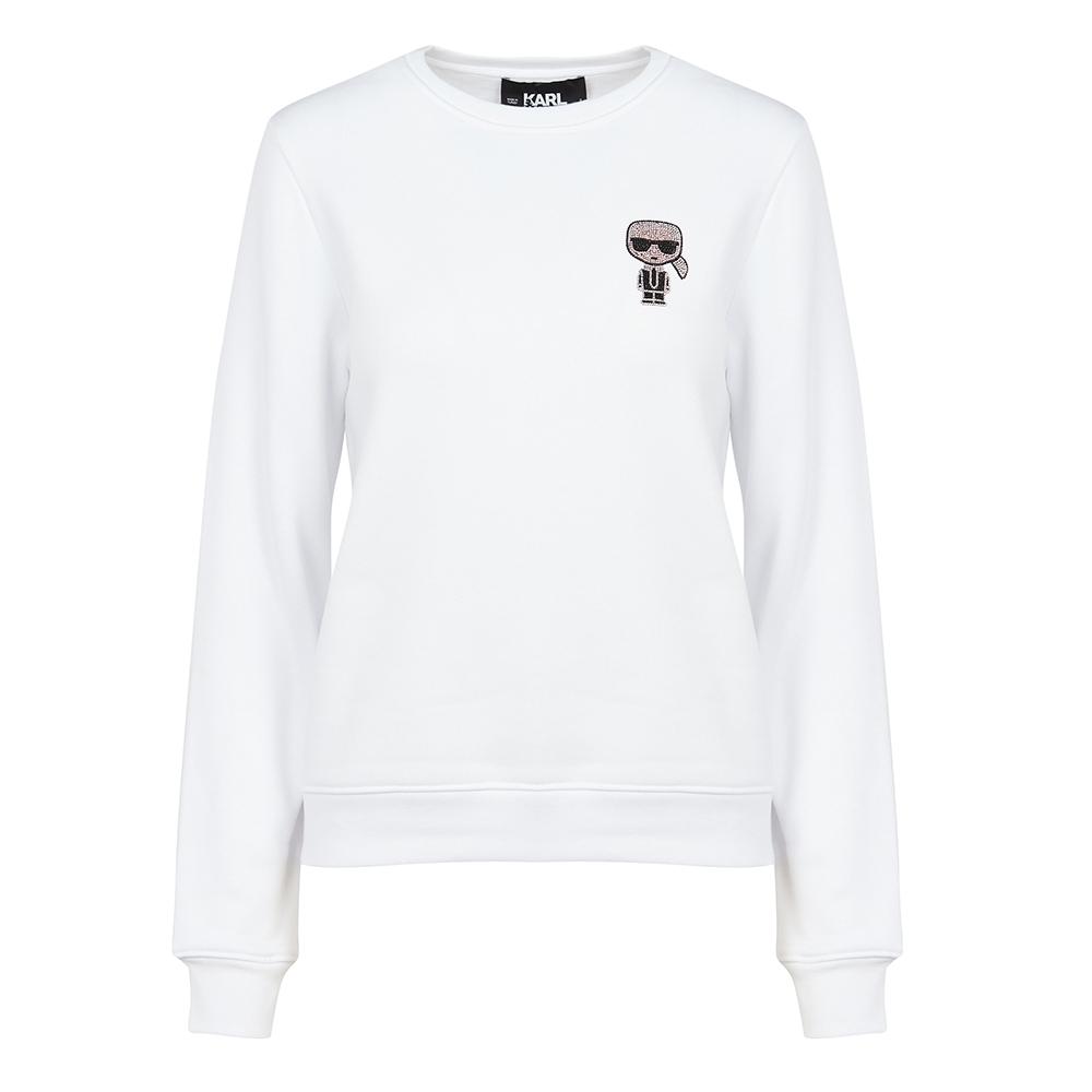 Karl Lagerfeld 水鑽墨鏡老佛爺棉質長袖T恤/運動衫 (白色)