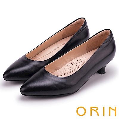 ORIN 簡約時尚OL 柔軟羊皮素面尖頭跟鞋-黑色