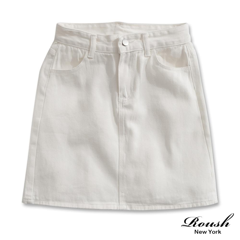 Roush 女生柔棉水洗牛仔短裙(2色)