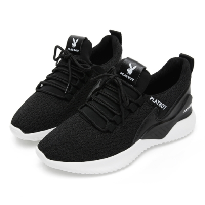 PLAYBOY 簡約飛織襪套式休閒鞋-黑-Y5821CC