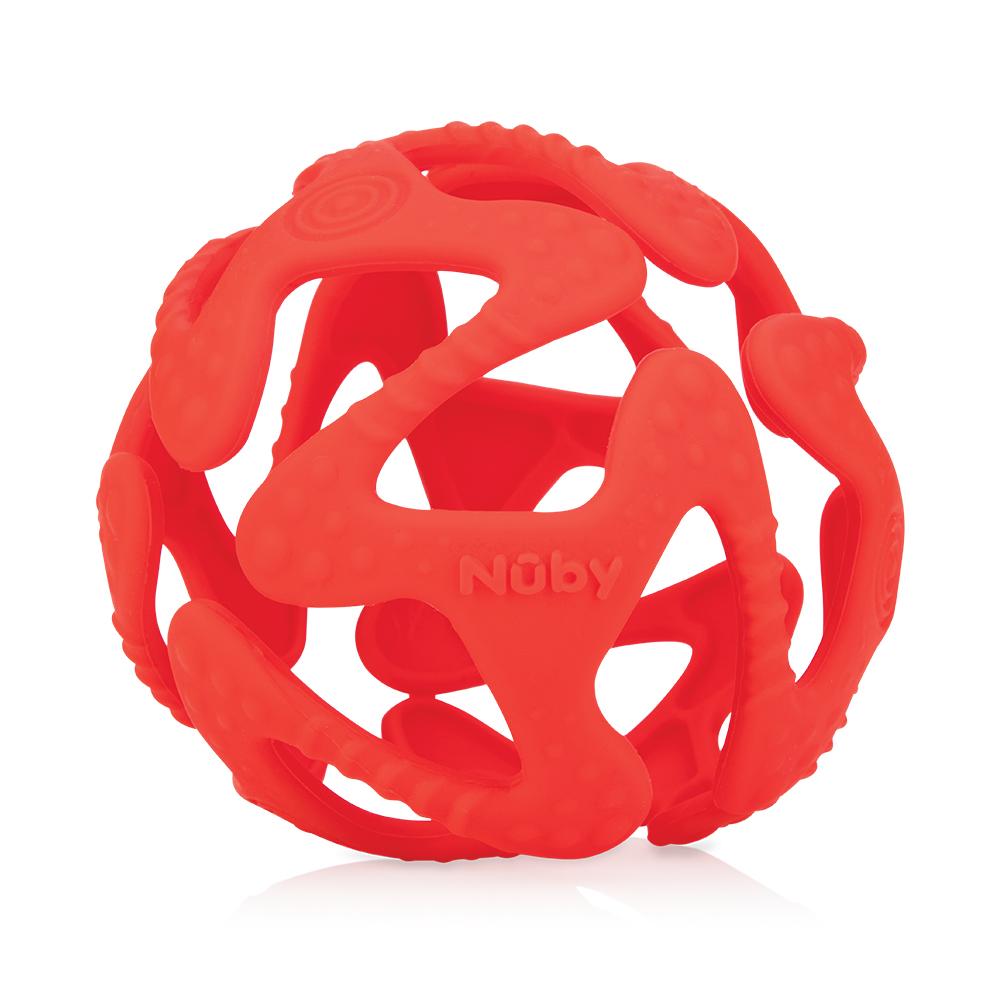 Nuby 矽膠咬咬球-紅色(3M+)