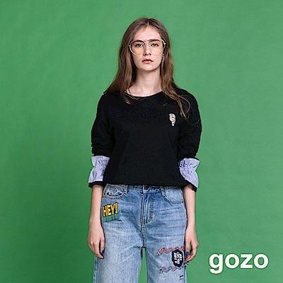 gozo 縫珠裝飾彈性縮口棉上衣(二色)