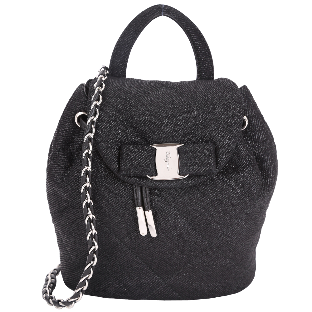 Salvatore Ferragamo VARA 牛仔絨面菱格鍊帶後背包(Mini/黑色)