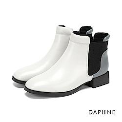 達芙妮DAPHNE 短靴-異材質撞色拼接方頭粗跟短靴-灰米