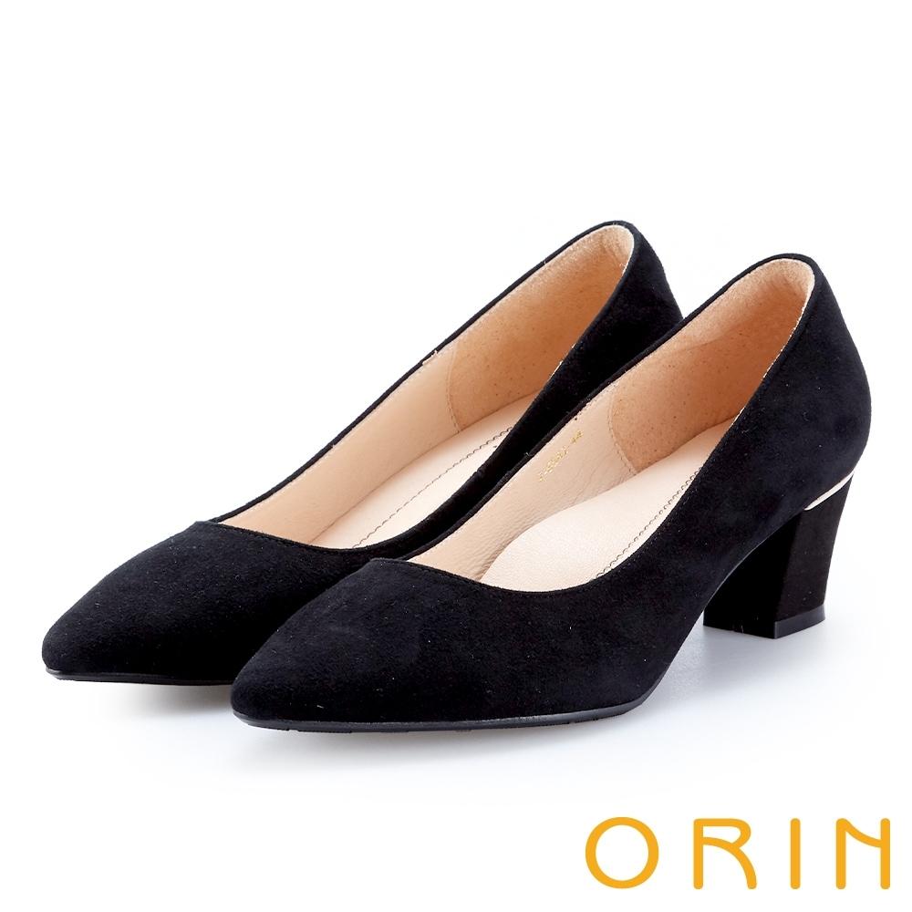 ORIN 優雅女人 後跟金屬飾條尖頭粗跟鞋-麂皮黑