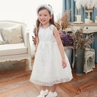Annys安妮公主- 夢幻公主蕾絲暗紋網紗春夏款綁帶禮服*8106白色