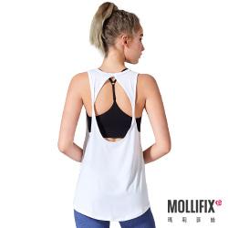 Mollifix 瑪莉菲絲 好動挖背扭結運動背心(白)