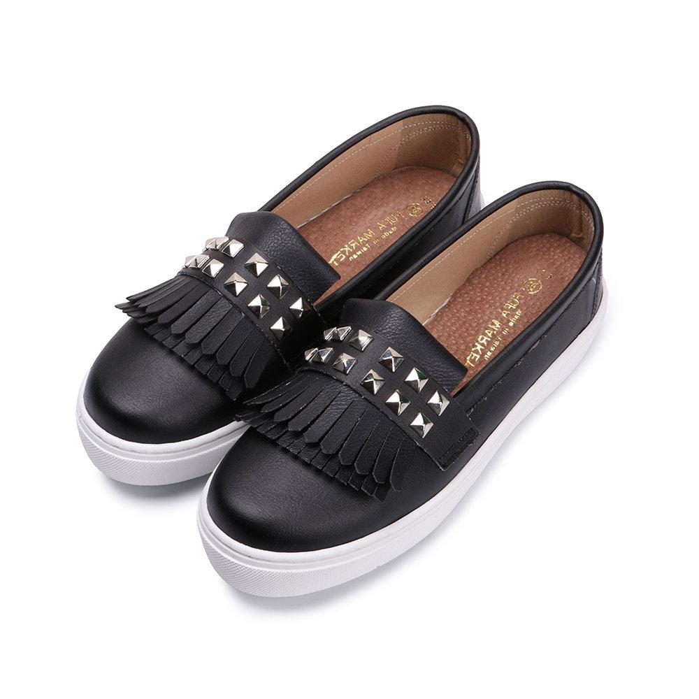 BuyGlasses 流行就是要流蘇x鉚釘懶人鞋-黑 @ Y!購物