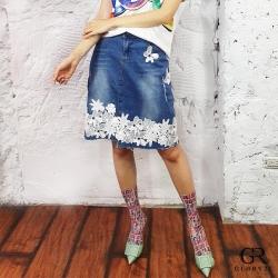 GLORY21 下襬蕾絲丹寧短裙