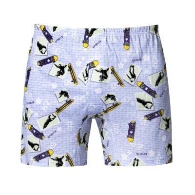 DADADO 滑板STYLE 4L印花四角男內褲(紫) 天然絲光棉 吸濕排汗