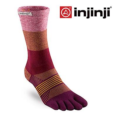 【INJINJI】女性野跑避震吸排五趾中筒襪-石榴紅