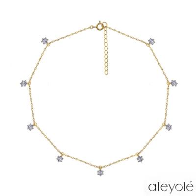 ALEYOLE 閃耀星鑽925純銀鍍18K金項鍊 CHORD GOLD