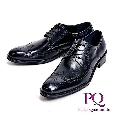 PQ 工藝壓紋時尚貴族型男皮鞋-雕花黑(另有素面黑)