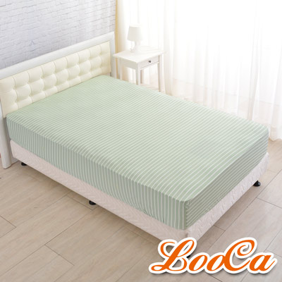 LooCa 新一代酷冰涼床包--單3.5尺(條紋綠)