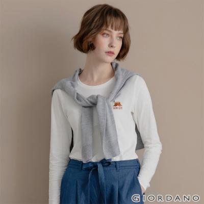 GIORDANO 女裝Natural刺繡長袖圓領T恤 - 02 皎白