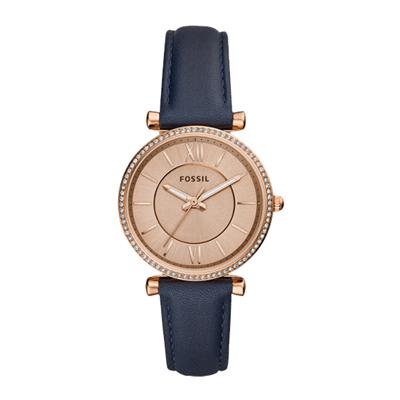 FOSSIL 閃耀晶鑽氣質皮革腕錶-玫瑰金x藍色-ES4485/34mm