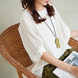 慢 生活 設計短袖棉麻上衣-白色