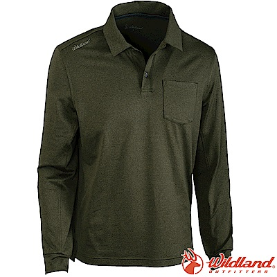 Wildland 荒野 0A62612-68橄欖綠 男POLO領輕薄保暖上衣
