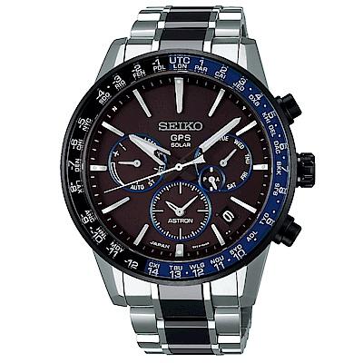 SEIKO 精工ASTRON雙時區GPS定位鈦金錶SSH009J1-黑藍框/43mm