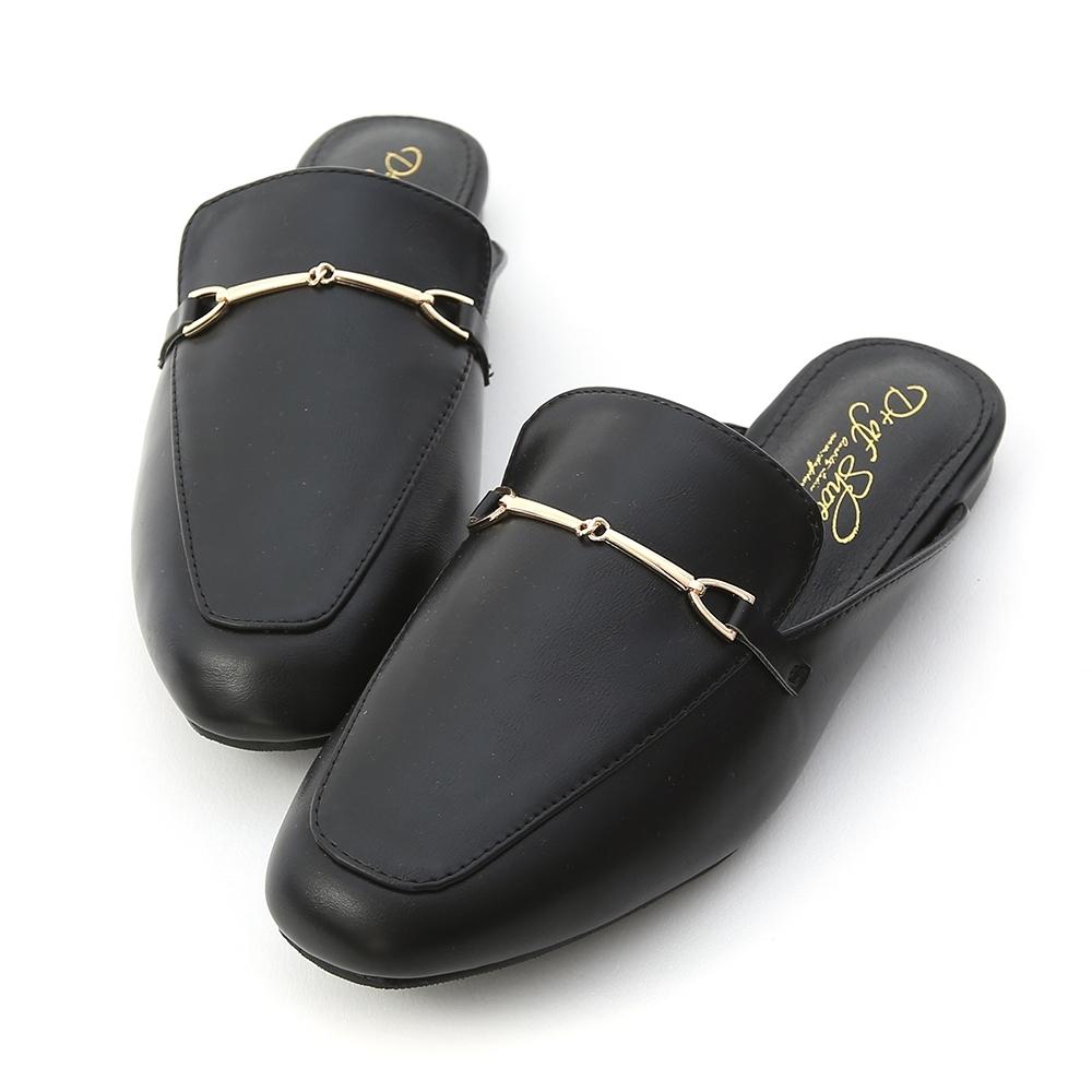 D+AF 百搭滿分.馬銜釦平底穆勒鞋*黑