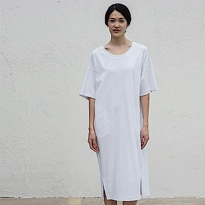 旅途原品_一葉_原創設計輕運動純色拼接連衣裙-白色